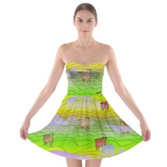 Cows And Clouds In The Green Fields Strapless Bra Top Dress