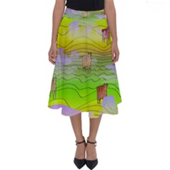 Cows And Clouds In The Green Fields Perfect Length Midi Skirt
