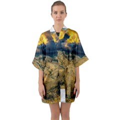 Hills Countryside Landscape Nature Quarter Sleeve Kimono Robe