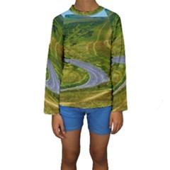 Cliff Coast Road Landscape Travel Kids  Long Sleeve Swimwear