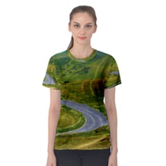 Cliff Coast Road Landscape Travel Women s Sport Mesh Tee