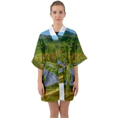 Cliff Coast Road Landscape Travel Quarter Sleeve Kimono Robe