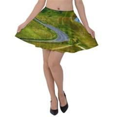Cliff Coast Road Landscape Travel Velvet Skater Skirt