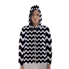 Wave Pattern Wavy Halftone Hooded Wind Breaker (women)