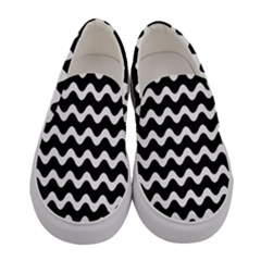 Wave Pattern Wavy Halftone Women s Canvas Slip Ons