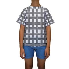 Seamless Stripe Pattern Lines Kids  Short Sleeve Swimwear