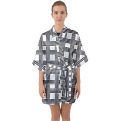 Seamless Stripe Pattern Lines Quarter Sleeve Kimono Robe