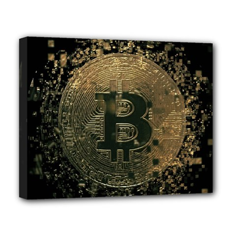 Bitcoin Cryptocurrency Blockchain Deluxe Canvas 20  X 16