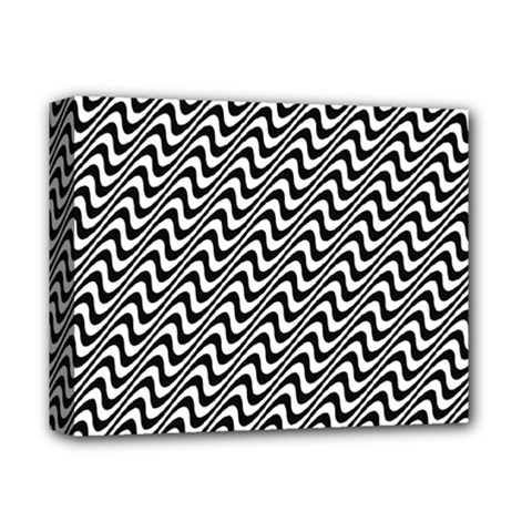 White Line Wave Black Pattern Deluxe Canvas 14  X 11