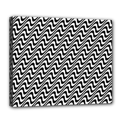 White Line Wave Black Pattern Deluxe Canvas 24  X 20