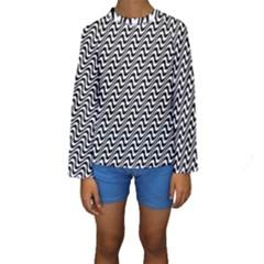 White Line Wave Black Pattern Kids  Long Sleeve Swimwear