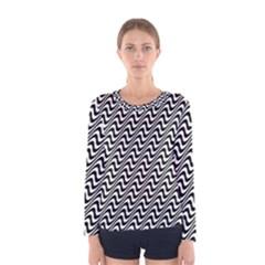 White Line Wave Black Pattern Women s Long Sleeve Tee