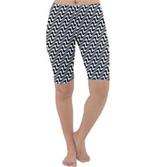 White Line Wave Black Pattern Cropped Leggings