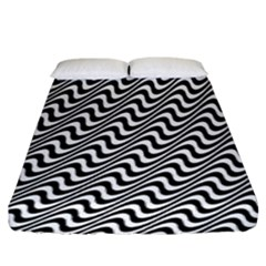 White Line Wave Black Pattern Fitted Sheet (king Size)
