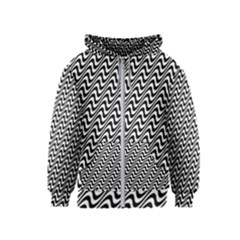 White Line Wave Black Pattern Kids  Zipper Hoodie