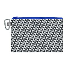 White Line Wave Black Pattern Canvas Cosmetic Bag (large)