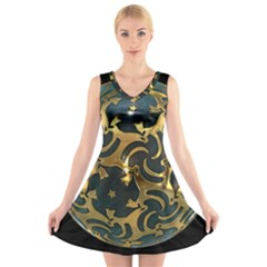 Sphere Orb Decoration 3d V Neck Sleeveless Skater Dress