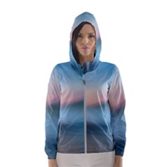 Wave Background Pattern Abstract Lines Light Hooded Wind Breaker (women)