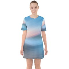 Wave Background Pattern Abstract Lines Light Sixties Short Sleeve Mini Dress