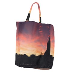Sunset Silhouette Sun Sky Evening Giant Grocery Zipper Tote