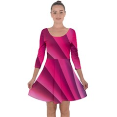 Wave Pattern Structure Texture Colorful Abstract Quarter Sleeve Skater Dress