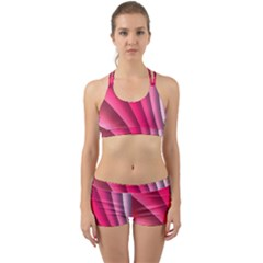 Wave Pattern Structure Texture Colorful Abstract Back Web Sports Bra Set