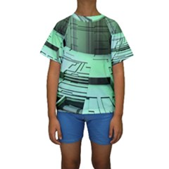 Futuristic Urban Architecture Kids  Short Sleeve Swimwear