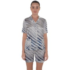 Aqua Building Wave Satin Short Sleeve Pyjamas Set