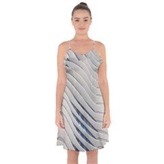 Aqua Building Wave Ruffle Detail Chiffon Dress