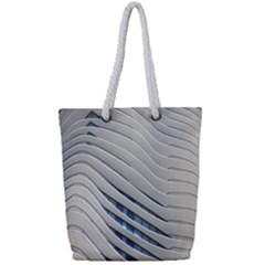 Aqua Building Wave Full Print Rope Handle Tote (small)