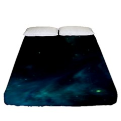 Green Space All Universe Cosmos Galaxy Fitted Sheet (queen Size)