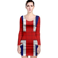 Union Jack Flag Uk Patriotic Long Sleeve Bodycon Dress