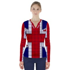 Union Jack Flag Uk Patriotic V Neck Long Sleeve Top