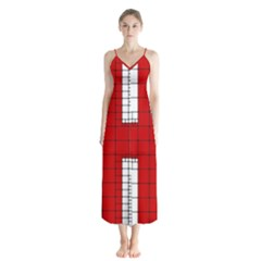 Union Jack Flag Uk Patriotic Button Up Chiffon Maxi Dress