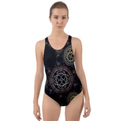 Background Pattern Symmetry Cut Out Back One Piece Swimsuit