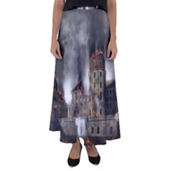 Destruction Apocalypse War Disaster Flared Maxi Skirt