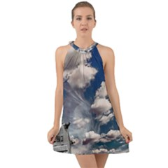 Chrysler Building America New York Halter Tie Back Chiffon Dress