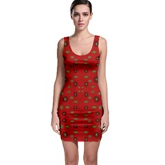Brown Circle Pattern On Red Bodycon Dress