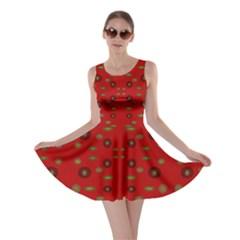 Brown Circle Pattern On Red Skater Dress