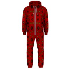 Brown Circle Pattern On Red Hooded Jumpsuit (men)