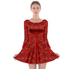 Brown Circle Pattern On Red Long Sleeve Skater Dress
