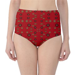 Brown Circle Pattern On Red High Waist Bikini Bottoms