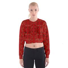 Brown Circle Pattern On Red Cropped Sweatshirt
