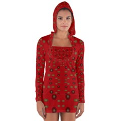 Brown Circle Pattern On Red Long Sleeve Hooded T Shirt