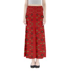 Brown Circle Pattern On Red Full Length Maxi Skirt