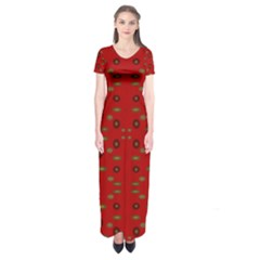 Brown Circle Pattern On Red Short Sleeve Maxi Dress