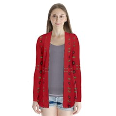 Brown Circle Pattern On Red Drape Collar Cardigan