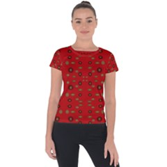 Brown Circle Pattern On Red Short Sleeve Sports Top