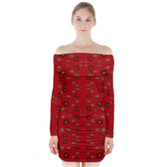 Brown Circle Pattern On Red Long Sleeve Off Shoulder Dress