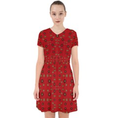 Brown Circle Pattern On Red Adorable In Chiffon Dress